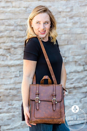 Convertible Structured Backpack - Brown