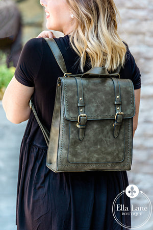 Convertible Structured Backpack - Olive