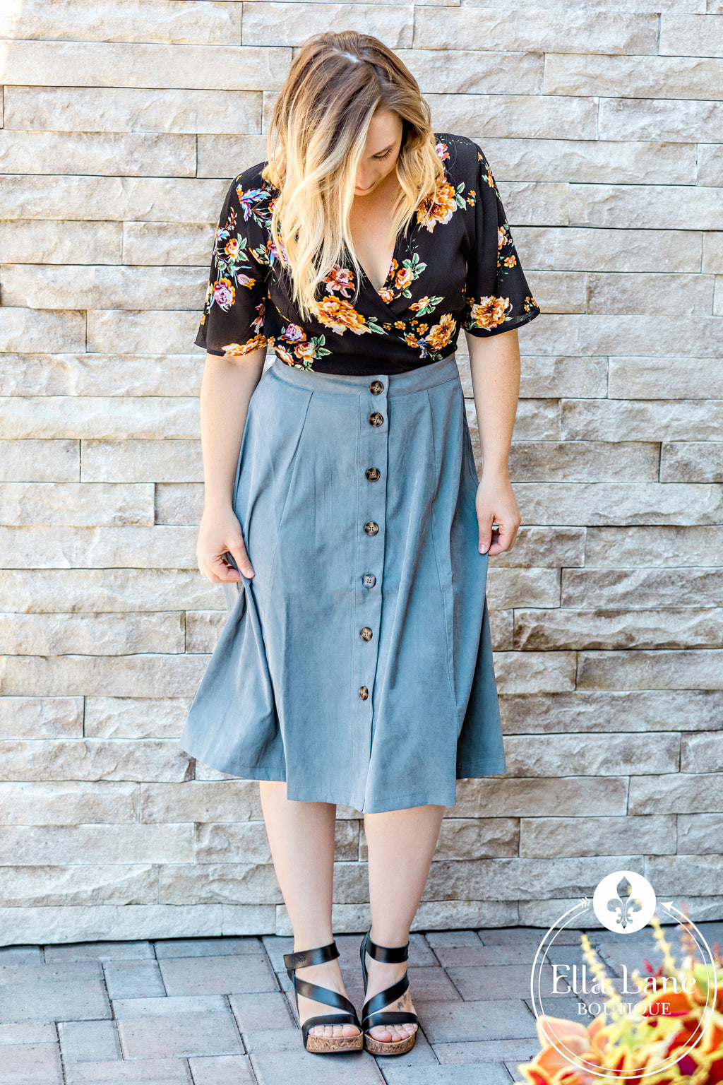Grey Button Down Skirt FINAL SALE