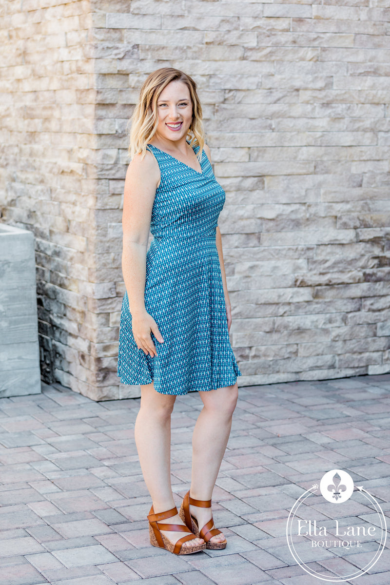 Bianca Blue Surplice Dress FINAL SALE
