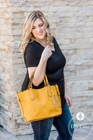 Veronica 2 in 1 Satchel Bag - Mustard