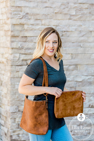 Eyelet Scallop Double Bag - Brown