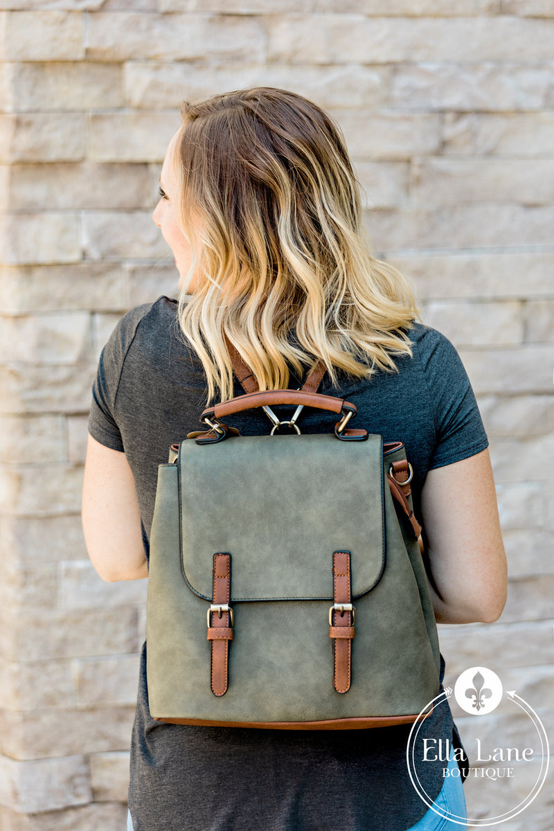Convertible Backpack/Shoulder Bag - Olive