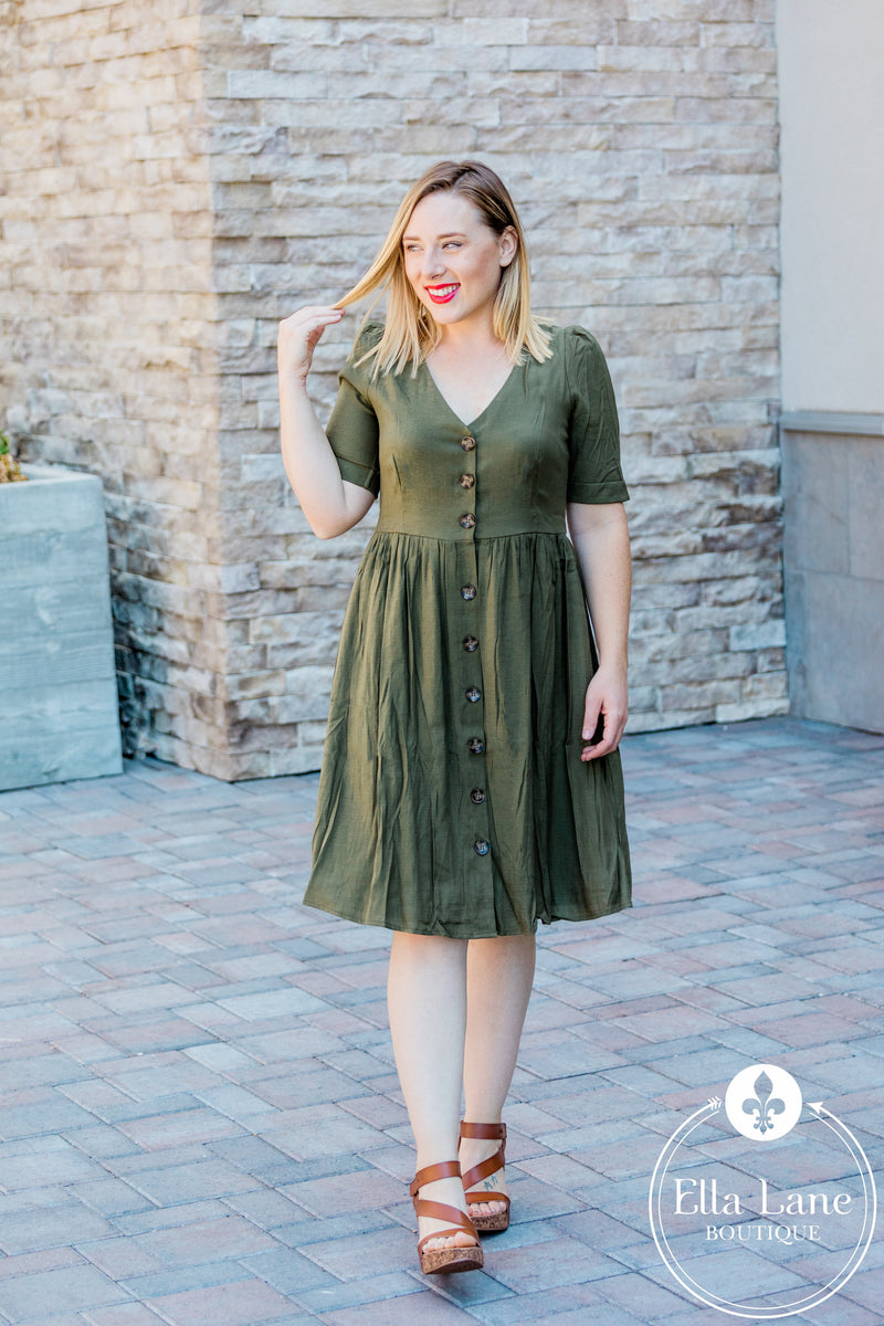 Joanna Button Dress - Olive