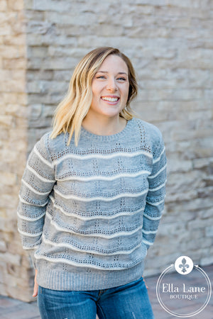 Grey Pointelle Pullover