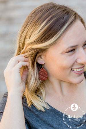 Rust Embossed Mini Earrings