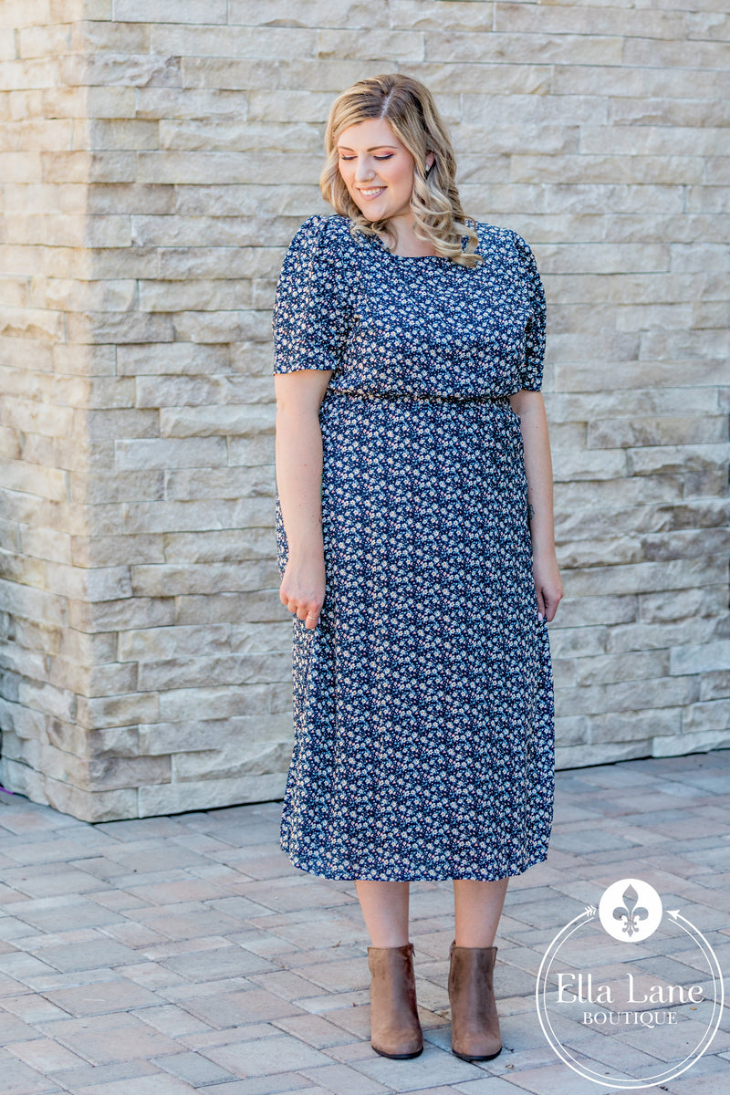 Navy Floral Smocked Dress