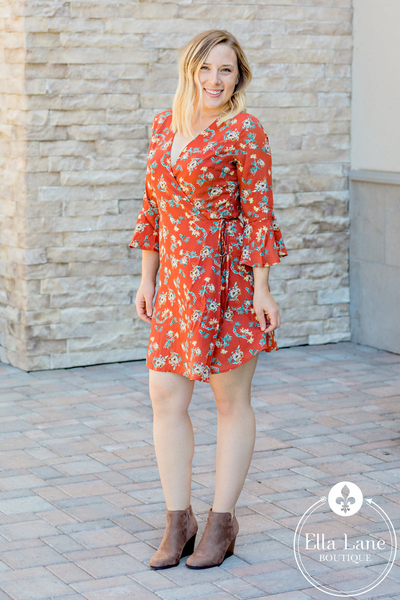 Rust Fall Floral Wrap Dress
