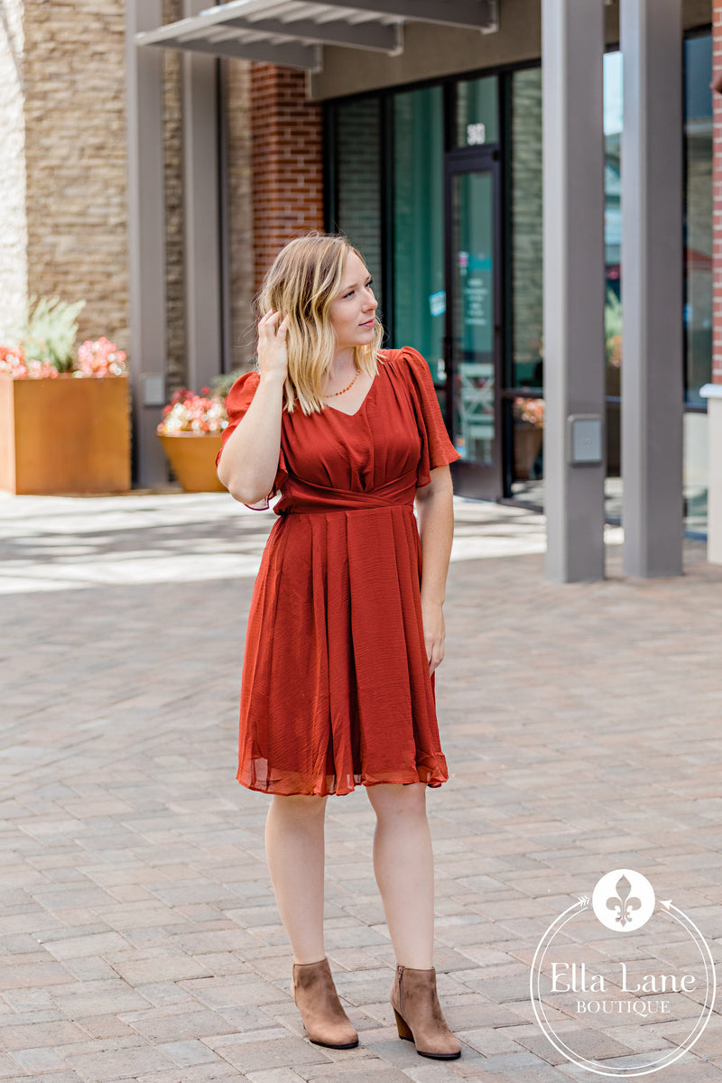 Rust Front Pleat Flowy Dress
