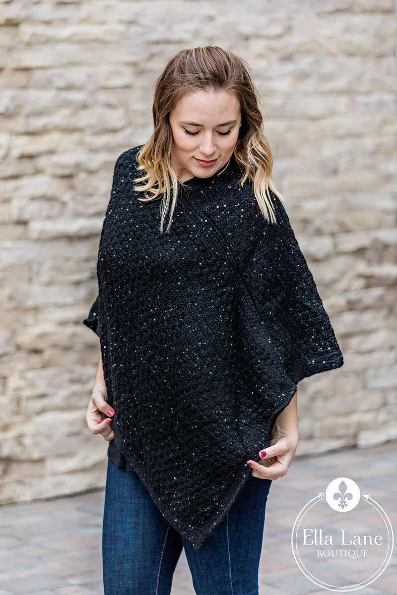 Holiday Poncho - Black