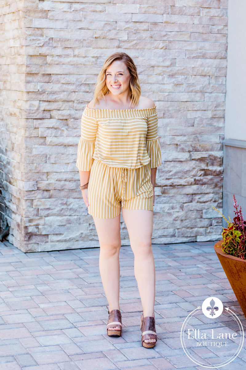 Yellow Stripes Romper