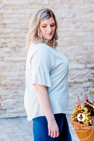 Grey Bell Sleeve Top FINAL SALE