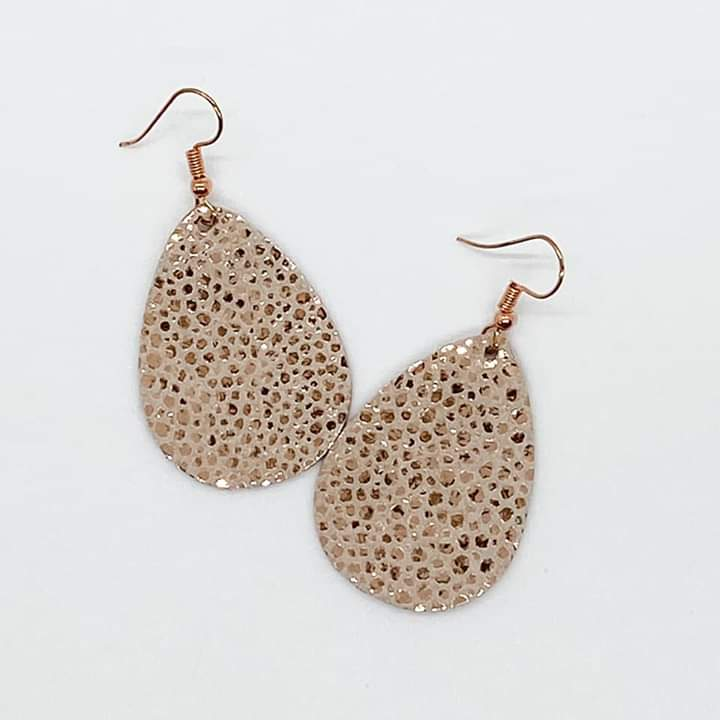 Metallic Rose Gold Stingray Earrings