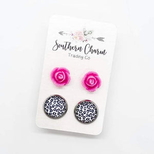 Hot Pink Roses & Leopard Stud Earrings