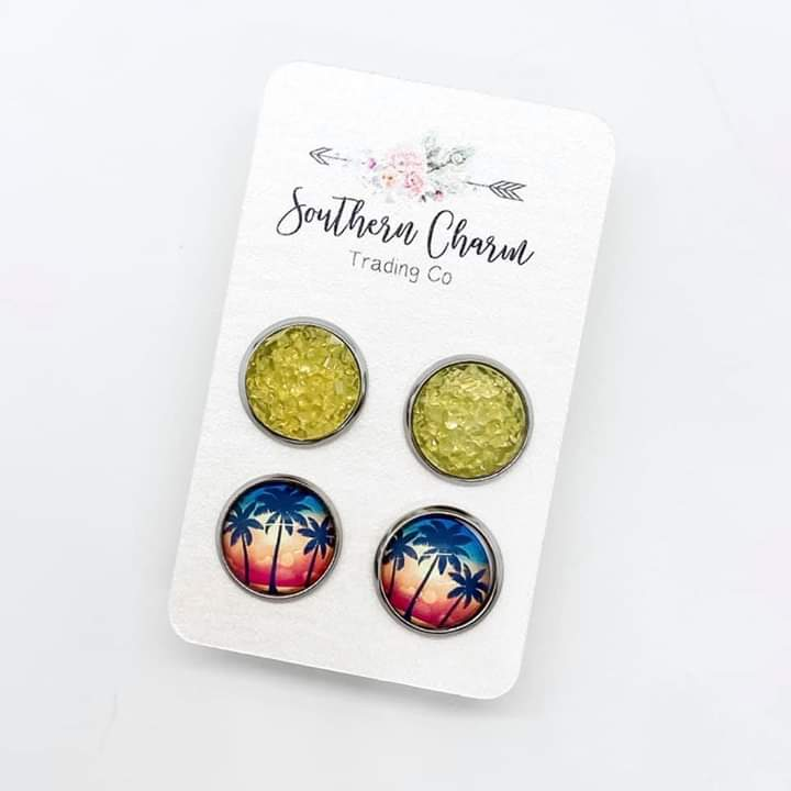 Palm Trees & Sunset Sparkles Stud Earrings FINAL SALE
