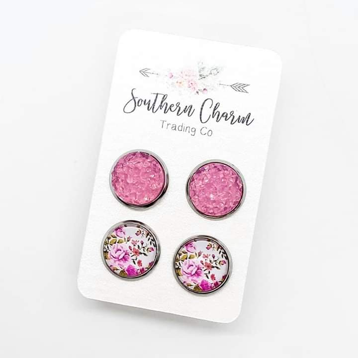 Pink Sparkles & Pink Floral Stud Earrings