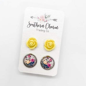 Yellow Sparkle Roses & Yellow/Pink Floral Stud Earrings