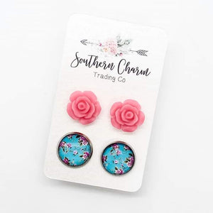 Hot Pink Roses & Pink/Mint Floral Stud Earrings
