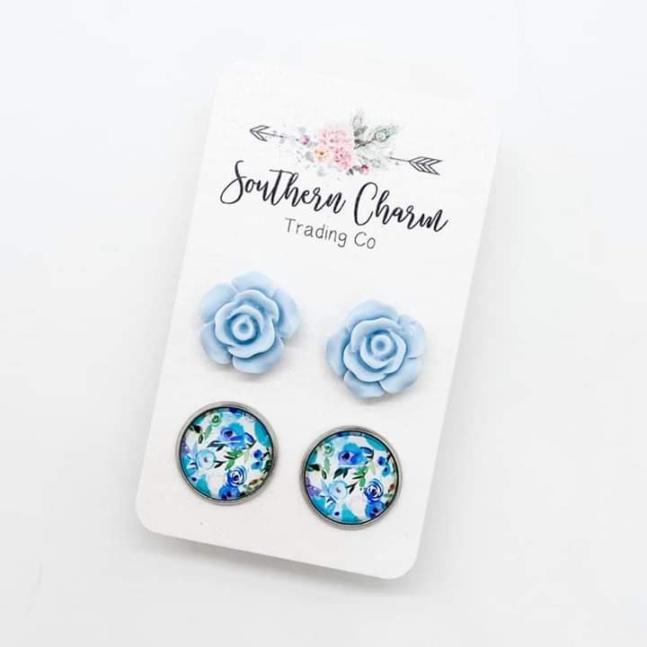 Blue Roses & Blue Floral Stud Earrings Duo FINAL SALE