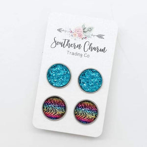 Teal Blue Sparkles & Neon Leopard/Zebra Stud Earrings Duo FINAL SALE