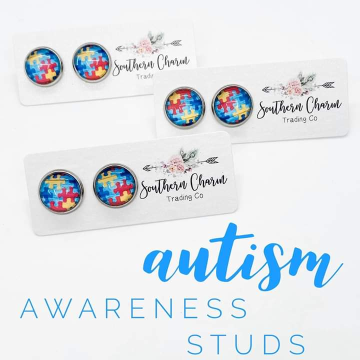Autism Awareness Puzzle Stud Earrings