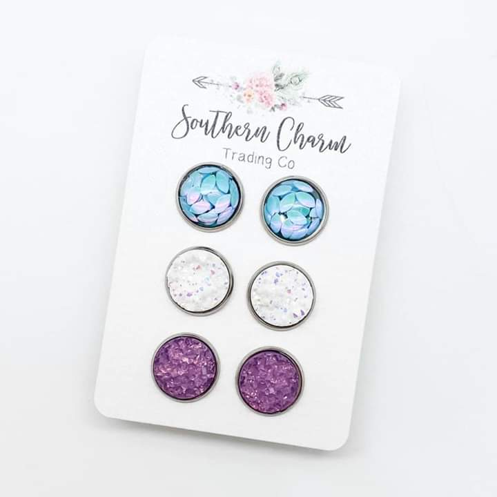 Blue Petal/White Sparkle/Light Purple Sparkle Trio Set