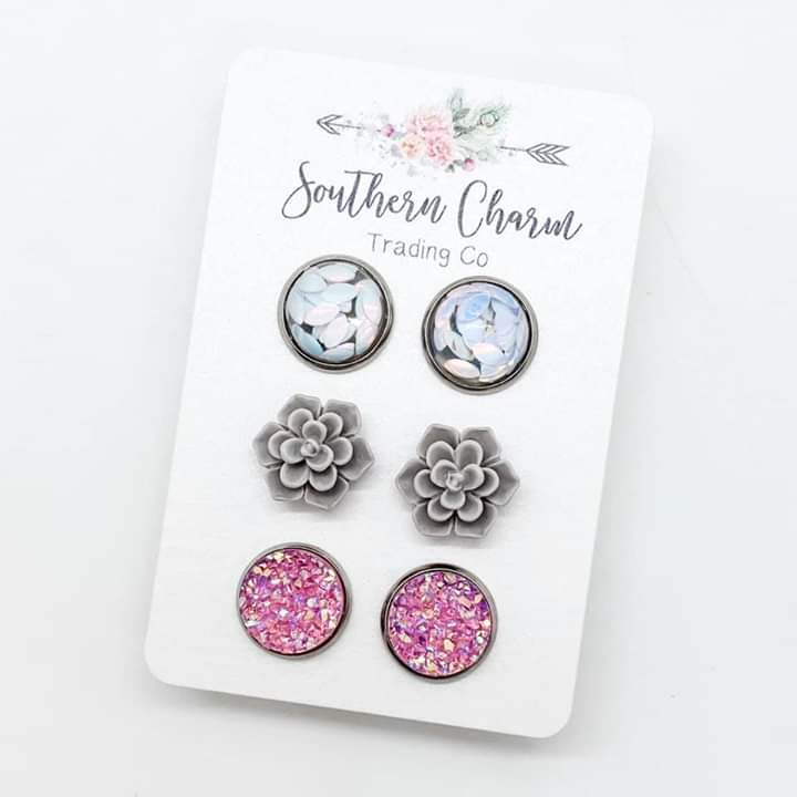 White Leaf/Grey Succulents/Pink Sparkle Trio Earring Set