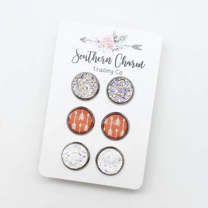 Crystal/Coral Arrows/White Sparkle Trio Earring Set