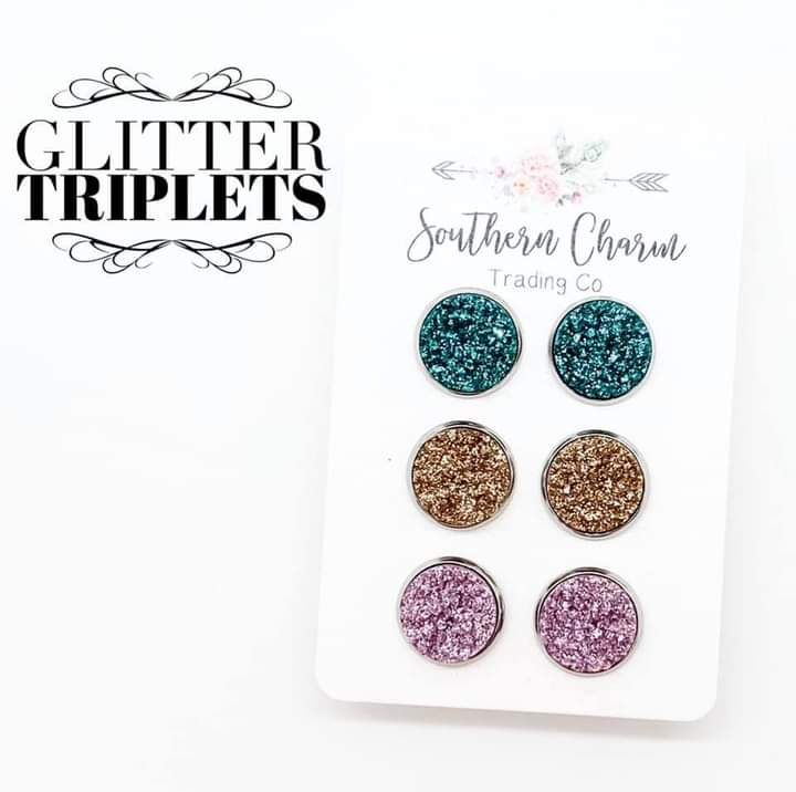 Teal/Champagne/Lilac Glitter Trio Set