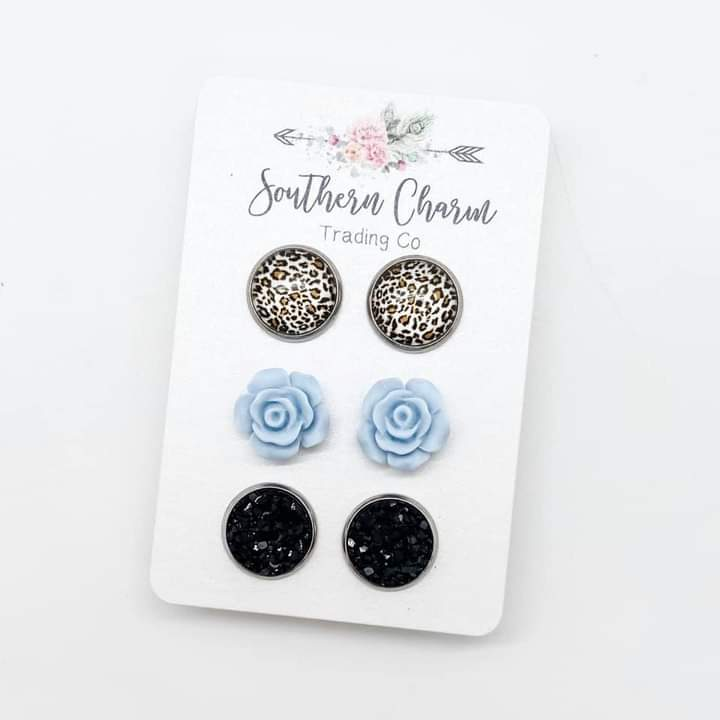 Leopard/Blue Roses/Black Trio Set