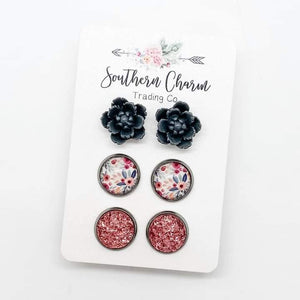 Grey Roses/Grey and Pink Floral/pink Sparkles Trio Set