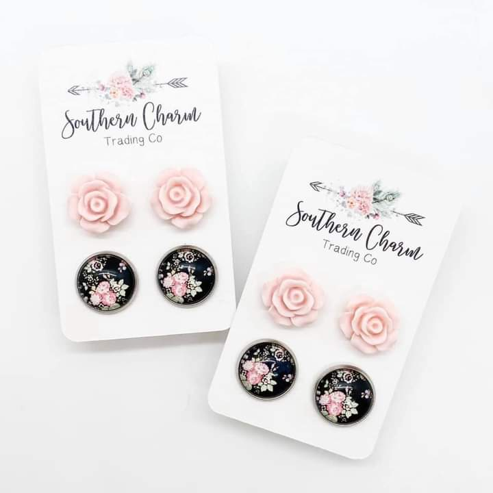 Pink Roses/Black Floral Stud Earring Duo
