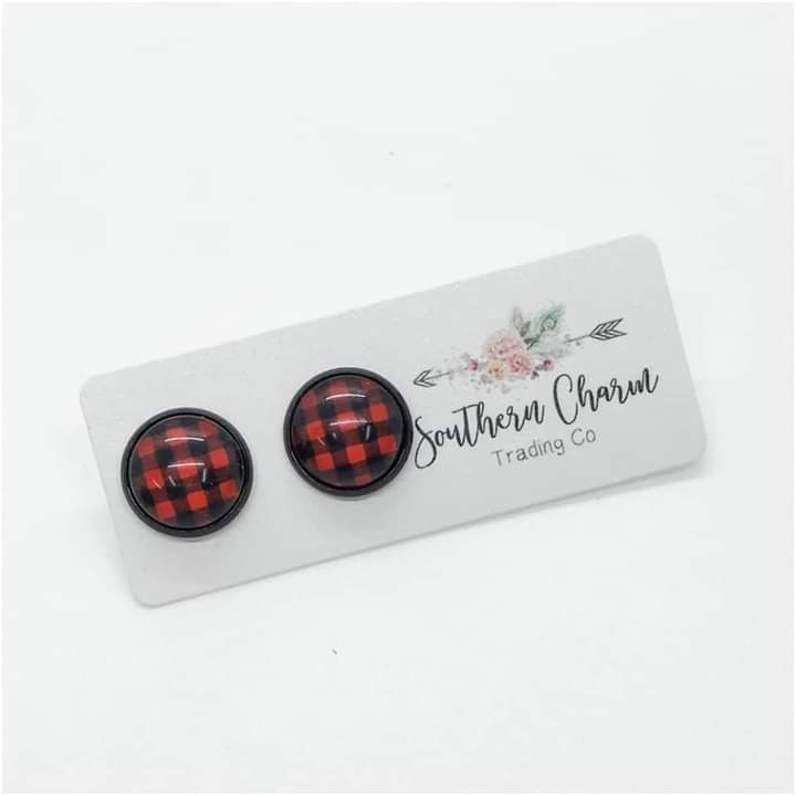 Red Plaid Earring Studs