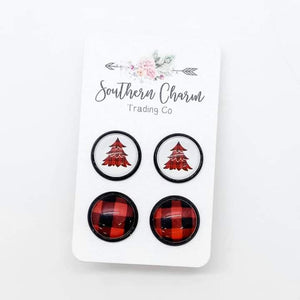 Red Plaid Trees and Red Plaid Duo Earring Studs