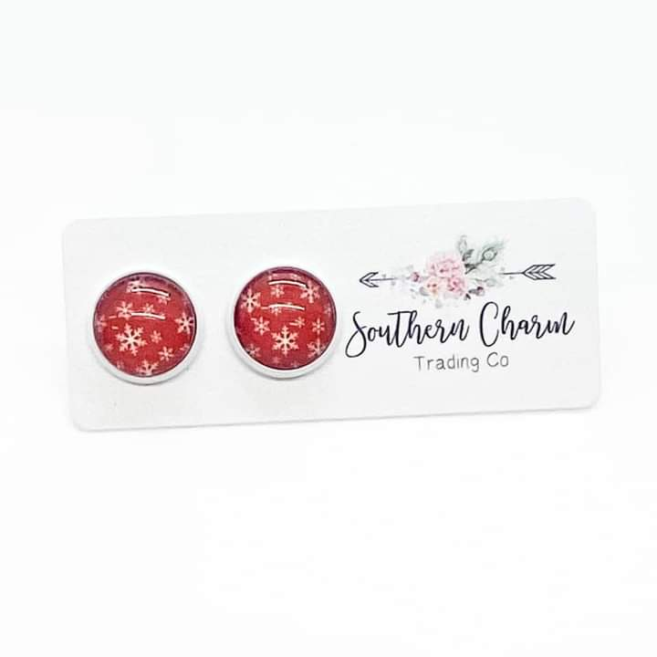 Red and White Snowflake Studs