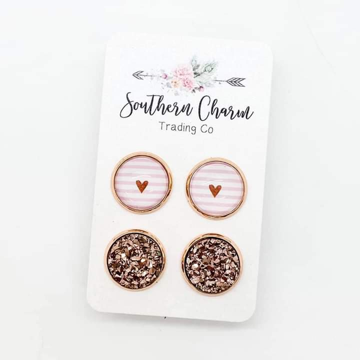 Pink Striped/Rose Gold Duo Stud Earrings