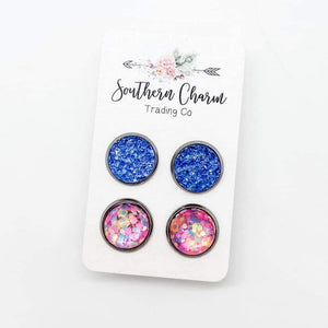 Blue Geode and Pink Party Confetti Stud Earring Duo