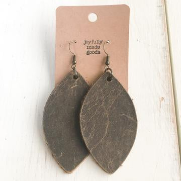 JMG Distressed Brown Leaf Earrings