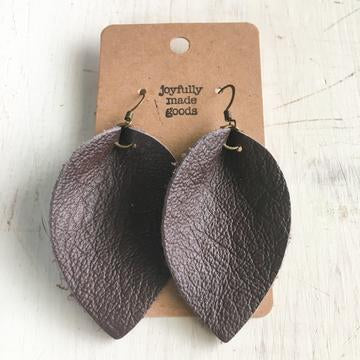 JMG Large Brown Petal Earrings