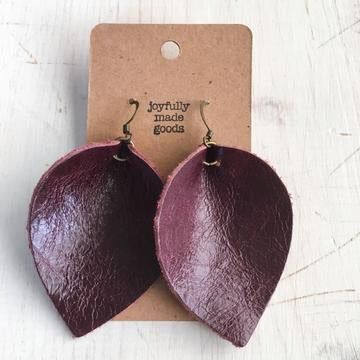 JMG Large Maroon Petal Earrings