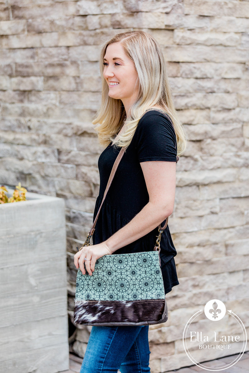 Green Floral Print Shoulder Bag