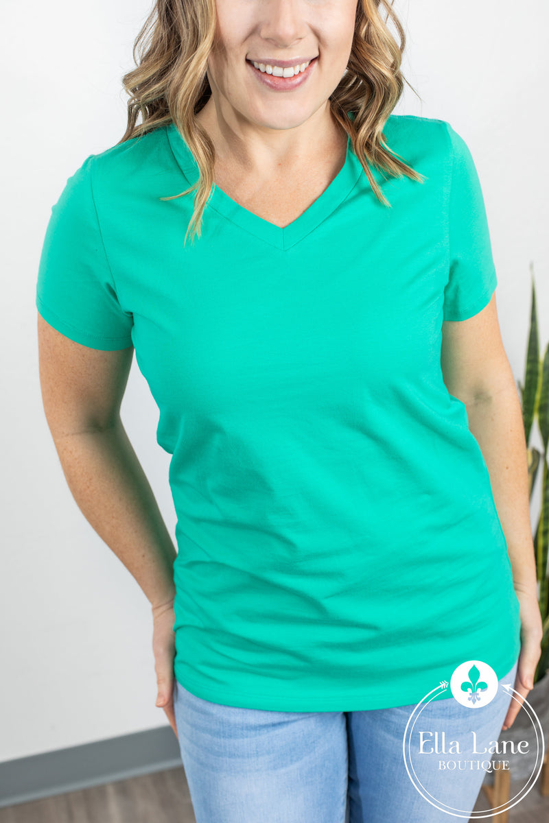 Michelle Mae Classic V Neck Tee - Turquoise