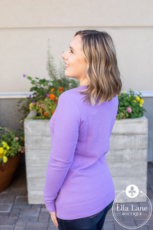 Michelle Mae Long Sleeve Henley Top - Lavender