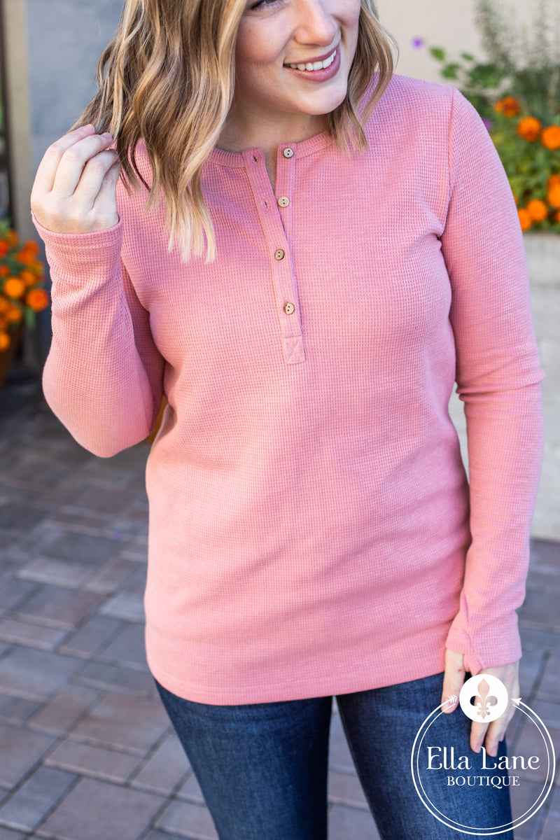 Michelle Mae Long Sleeve Henley Top - Rose
