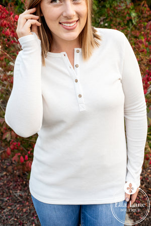 Michelle Mae Long Sleeve Henley Top - White