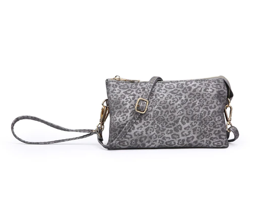 Cheetah Wristlet/Crossbody - Pewter