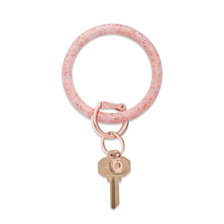 Silicone Big O® Key Ring - Rose Gold Confetti