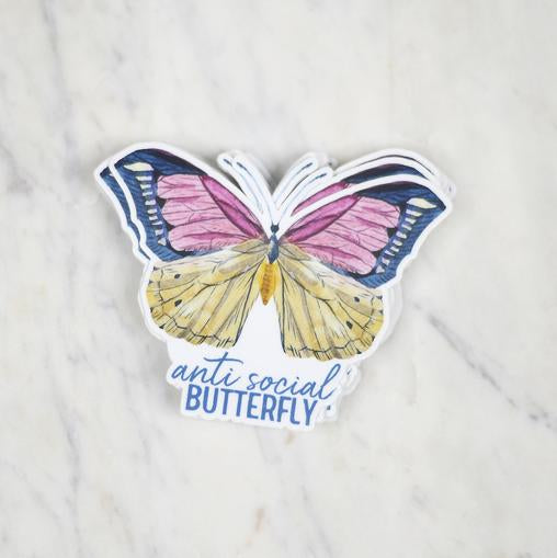 Anti Social Butterfly Sticker