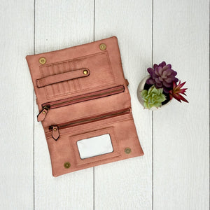 Hobo Wallet/Crossbody - Dusty Pink