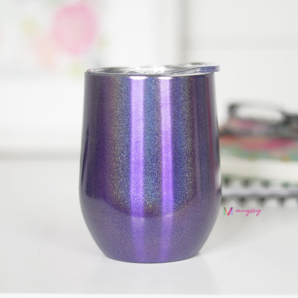 Purple Rainbow Glitter Wine Cup